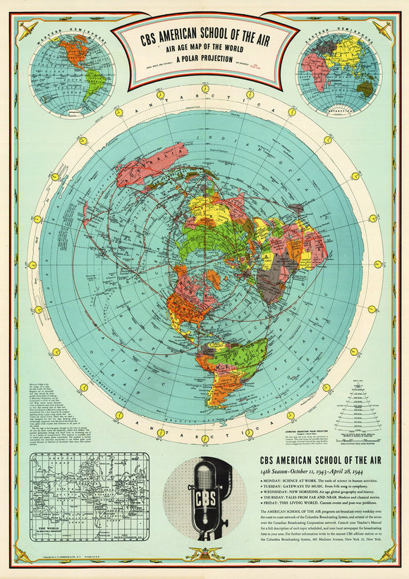 Flat Earth Map - Cbs American School Of The Air Hammond Map Print