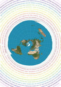 "Flat Earth Map - Azimuthel Equidistant with Biblical Scripture - A1 33"" x 23"""