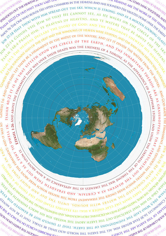 Flat Earth Map - Azimuthel Equidistant with Biblical Scripture - A1 33