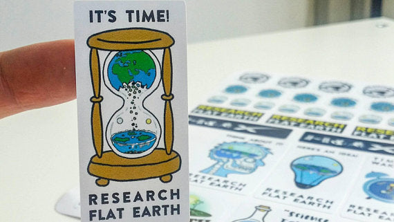 Flat Earth Stickers x 33 (Funny flat earth memes and flat earth maps)