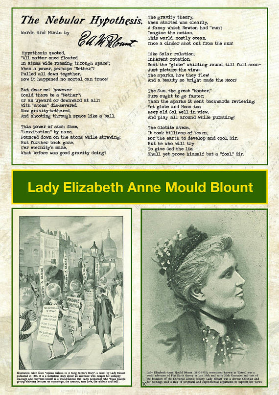 Lady Elizabeth Blount Poster - Flat Earth Poem and illustration A1