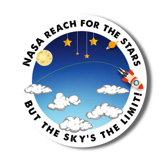 NASA reach for the stars... but the sky's the limit Sticker (flat earth)