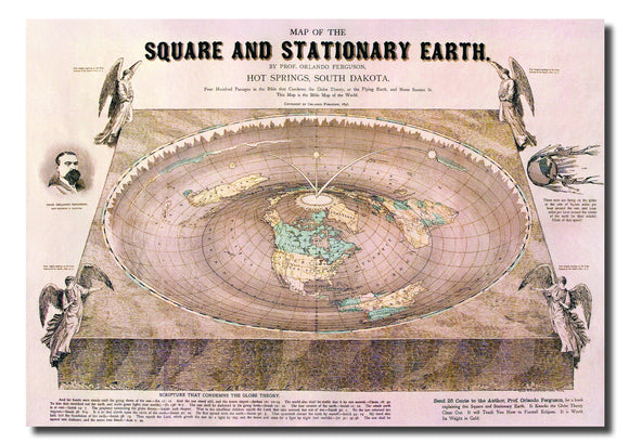 Orlando Ferguson Square and Stationary Flat Earth Map 200gsm Poster A1