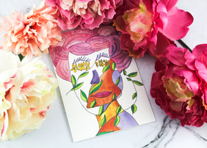 """Painted Lady"" Watercolor Art Illustration - Blank Greeting Card Set"