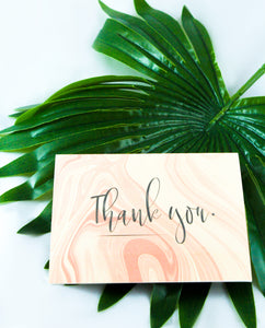"Thank You Card Set - ""Pink Marble Delight"""