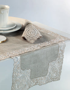 Rosa Lace Scalloped Linen Table Runner - Natural