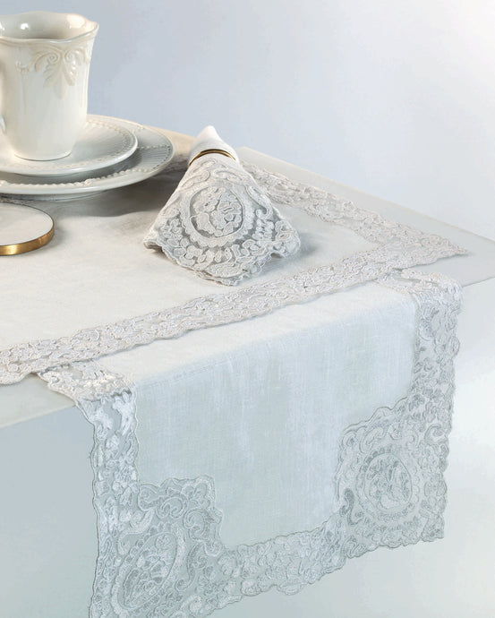 Rosa Lace Scalloped Linen Table Runner - White