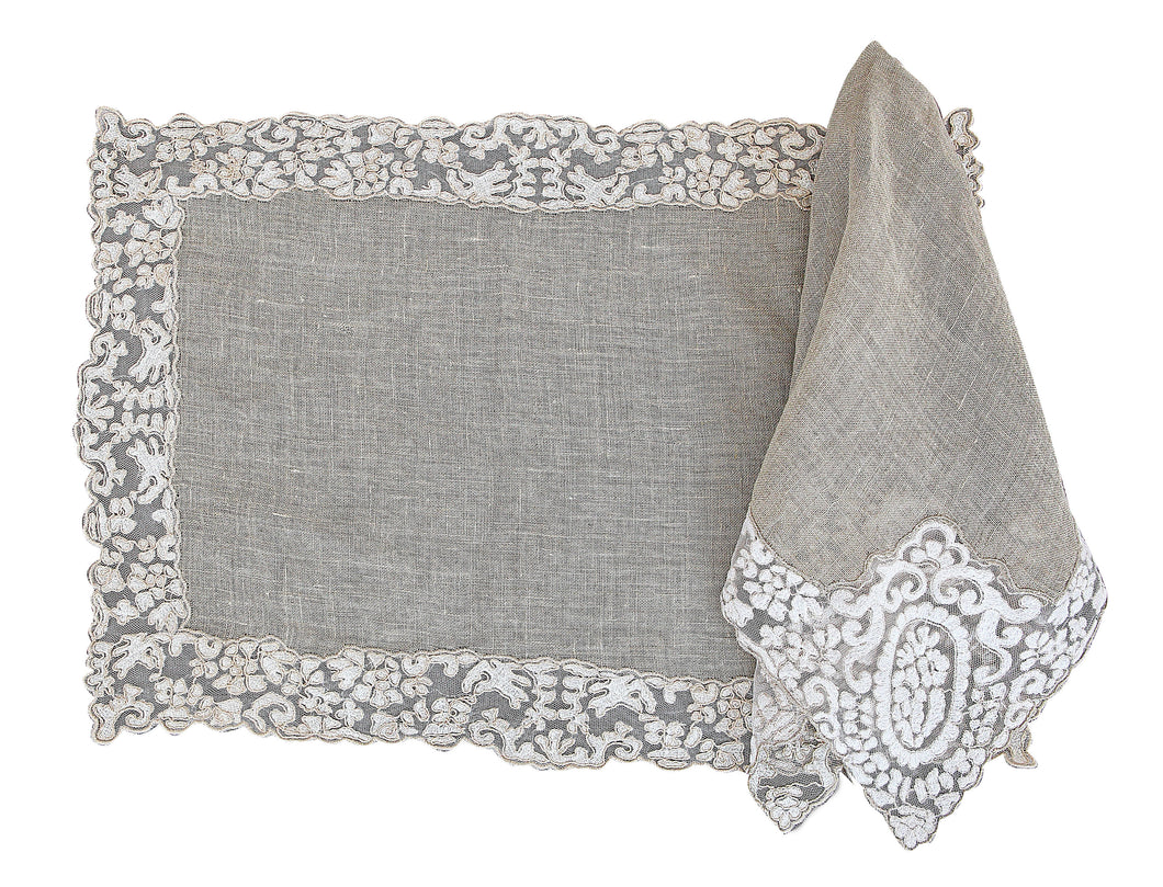Rosa Lace Scalloped Linen Napkin & Placemats - Natural