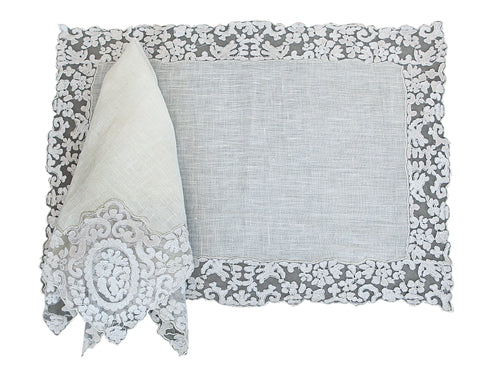 Rosa Lace Scalloped Linen Napkin & Placemats - White