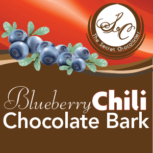 Blueberry Chili Chocolate Bark label