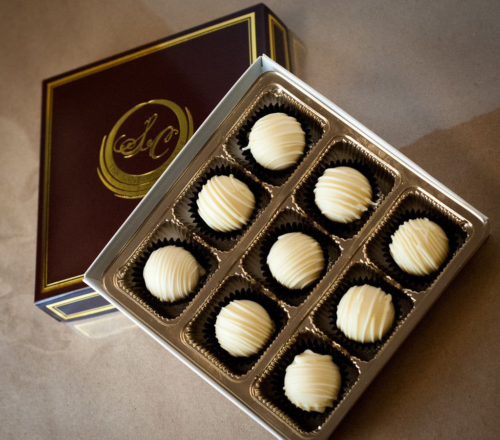 Box of 9 White Chocolate Truffles