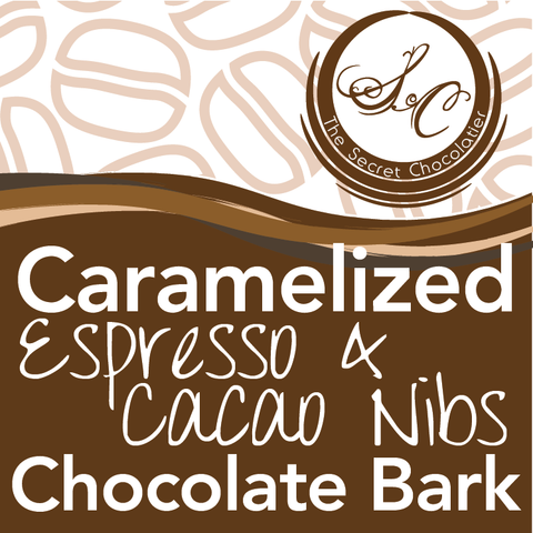 Chocolate Espresso and Cacao Nib Bark Label