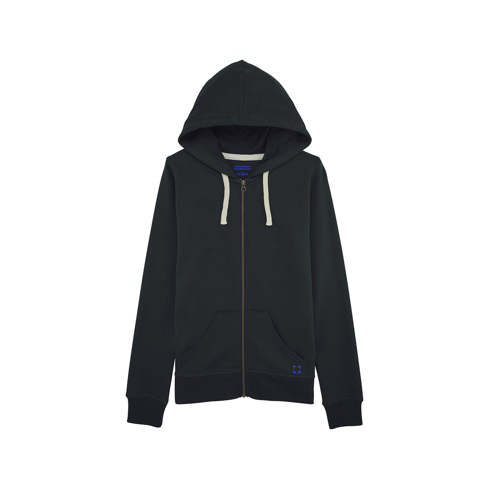 Leia - la base packshot of a black zipped hoodie in organic coton for women