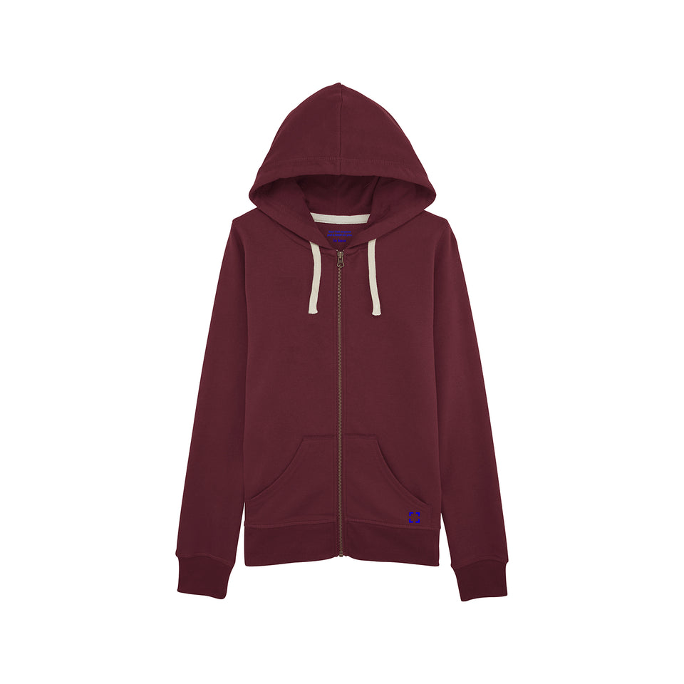 Leia - la base packshot of a burgundy zipped hoodie in organic coton for women