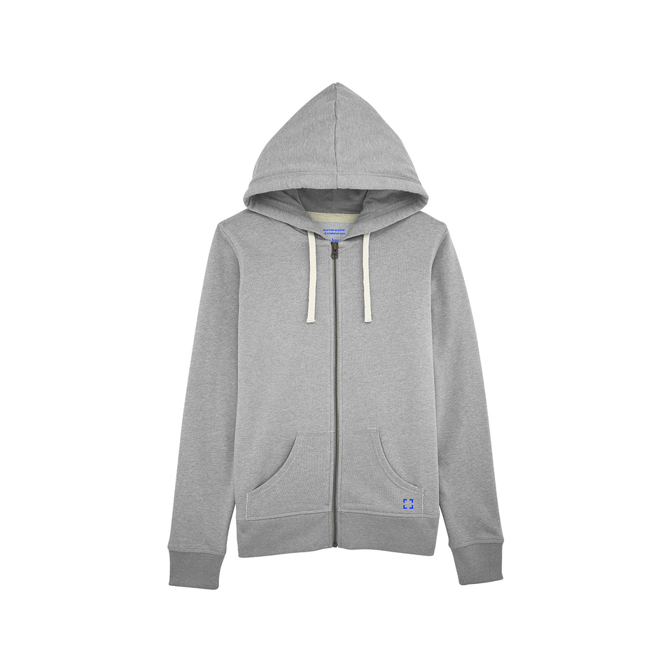 Leia - la base packshot of a heather-grey zipped hoodie in organic coton for women