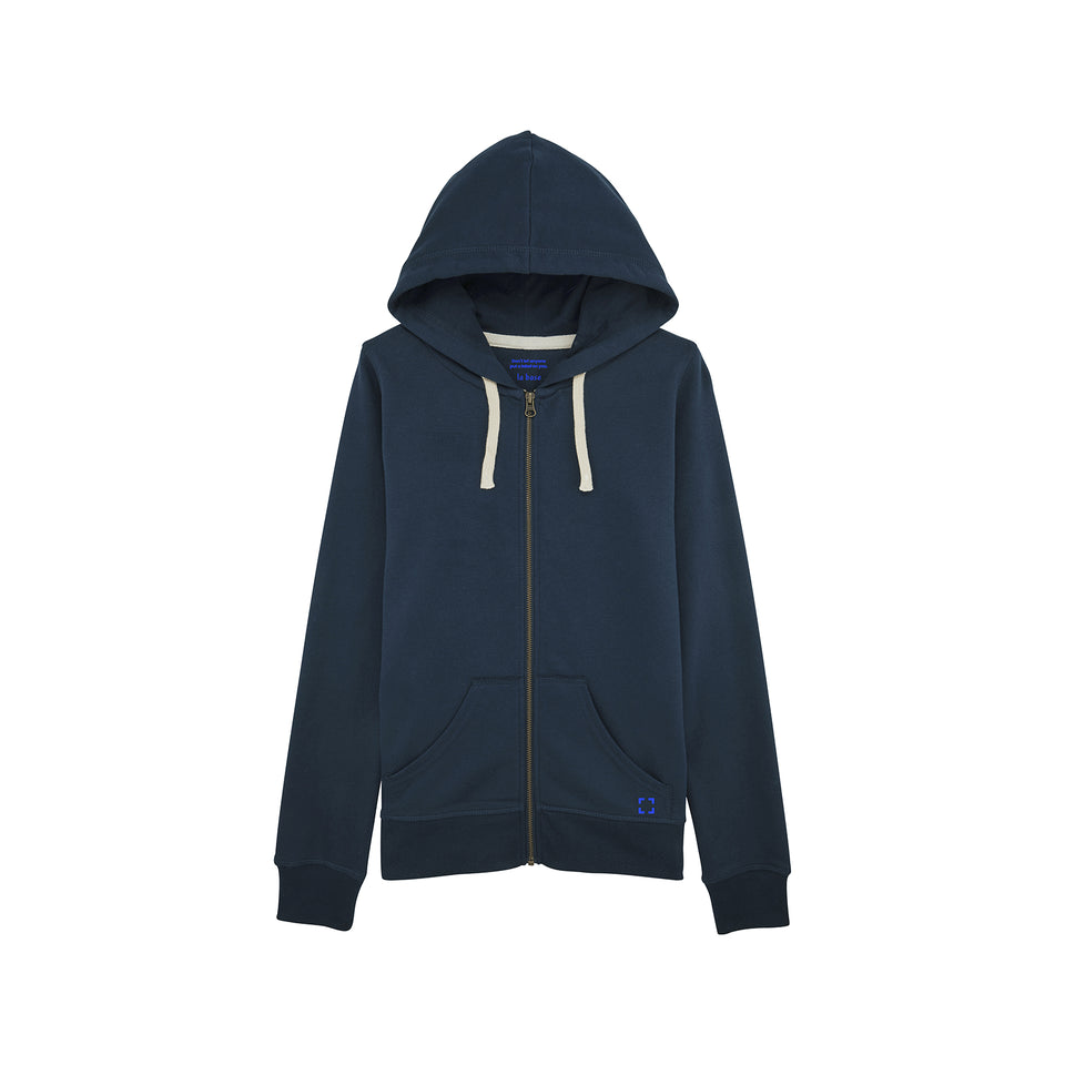 Leia - la base packshot of a navy zipped hoodie in organic coton for women
