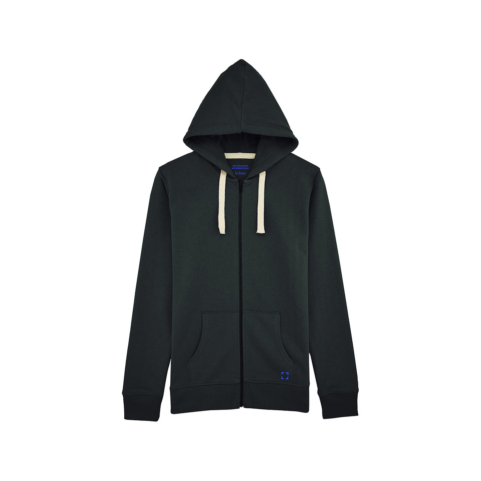 Luke - la base packshot of a black zipped hoodie in organic coton for men