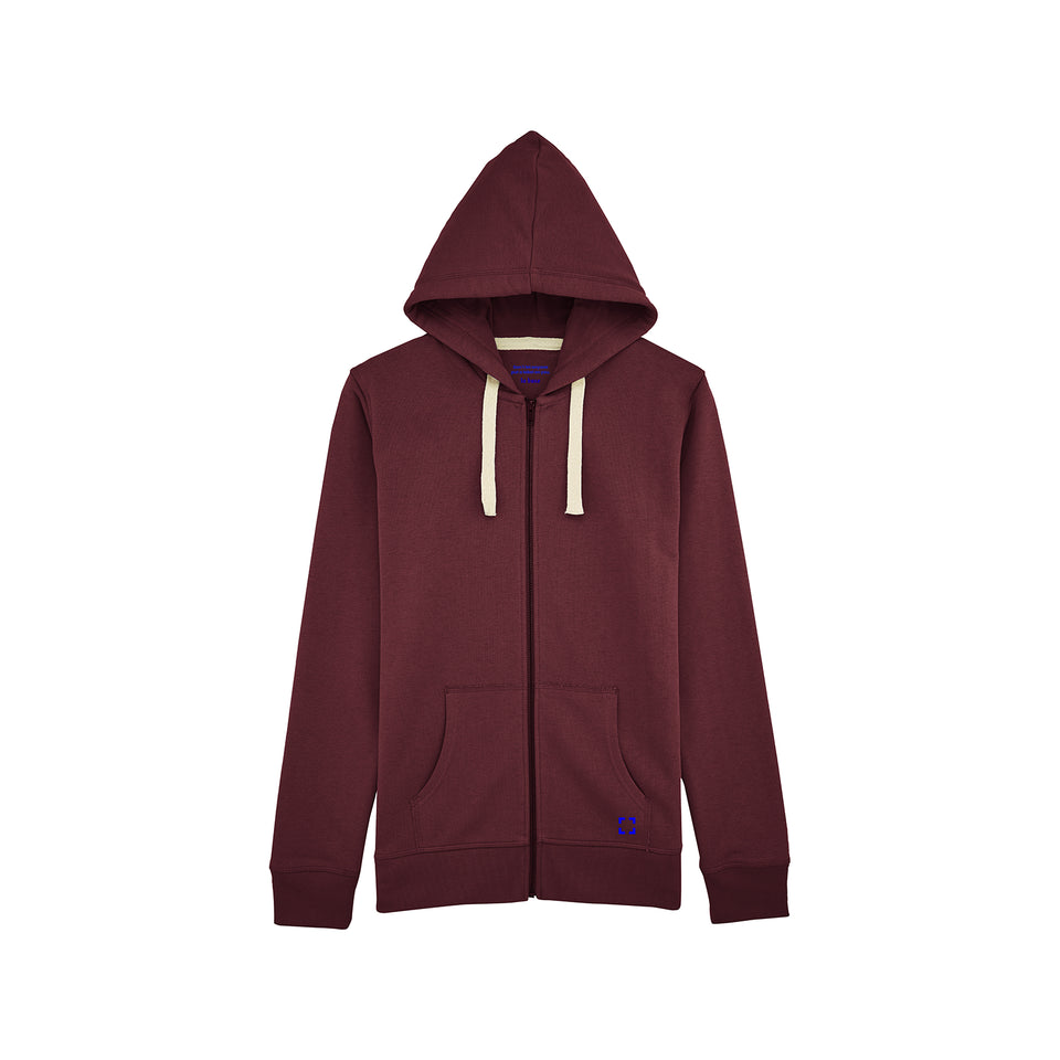 Luke - la base packshot of a burgundy zipped hoodie in organic coton for men