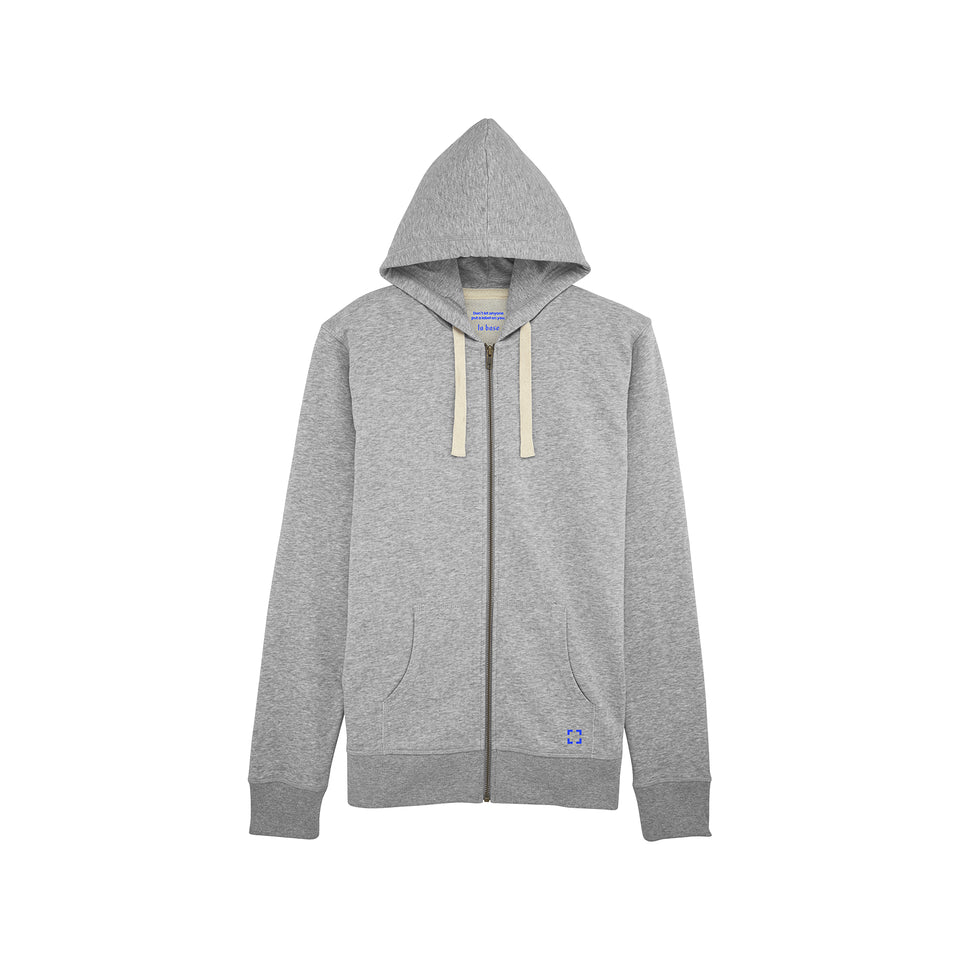 Luke - la base packshot of a heather-grey zipped hoodie in organic coton for men