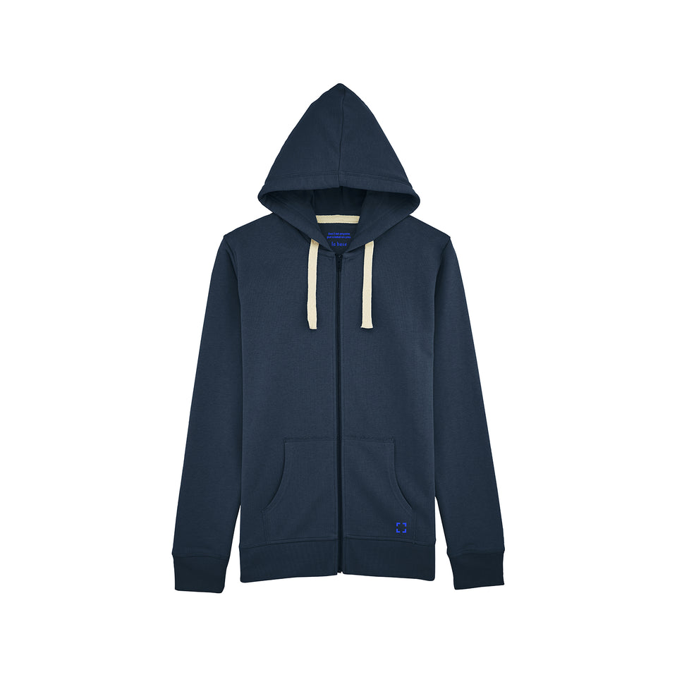 Luke - la base packshot of a navy zipped hoodie in organic coton for men