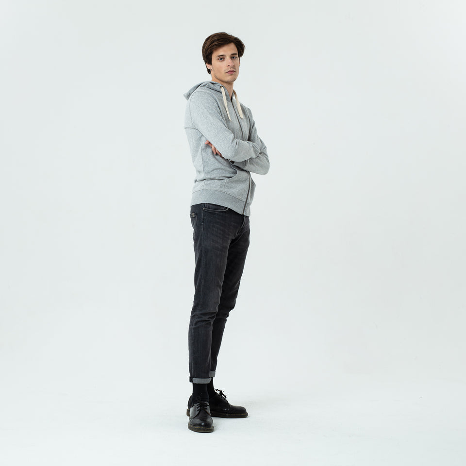 Luke - la base navy zipped hoodie in organic coton worn by Sebastien François like a good guy