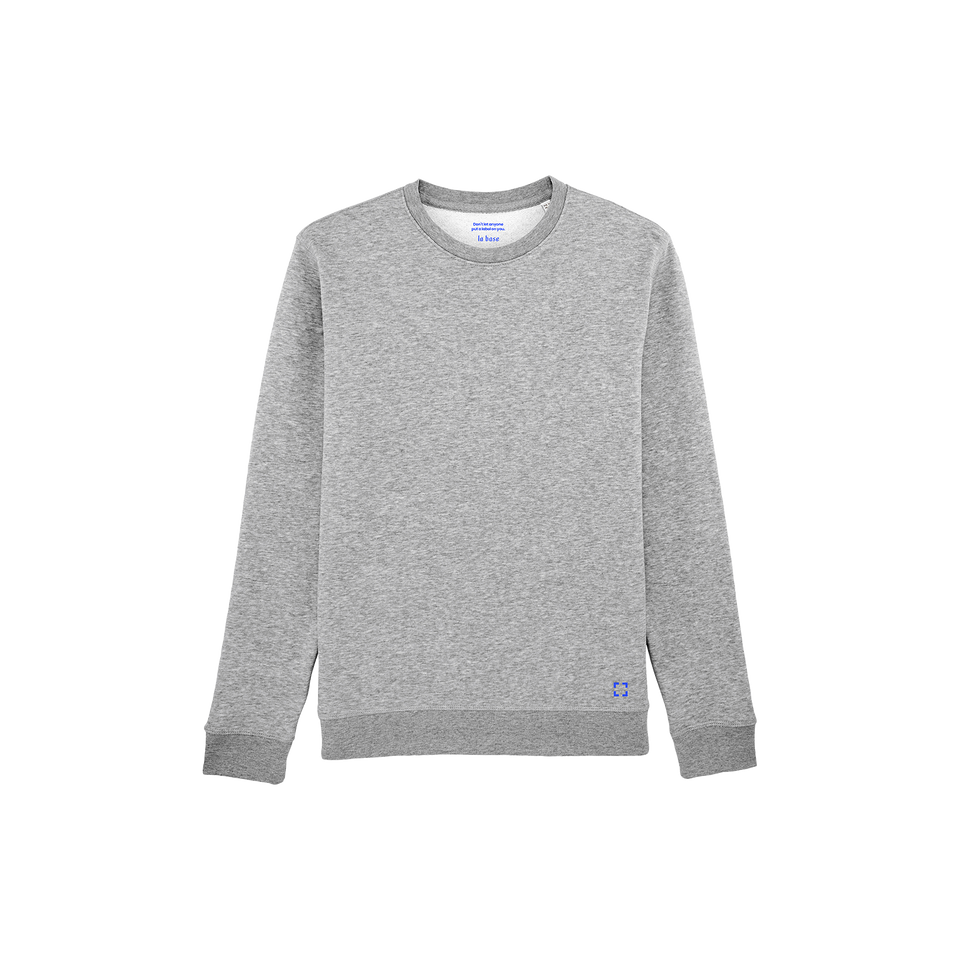Mac - la base packshot of a heather-grey usinex sweat in organic coton for women and men