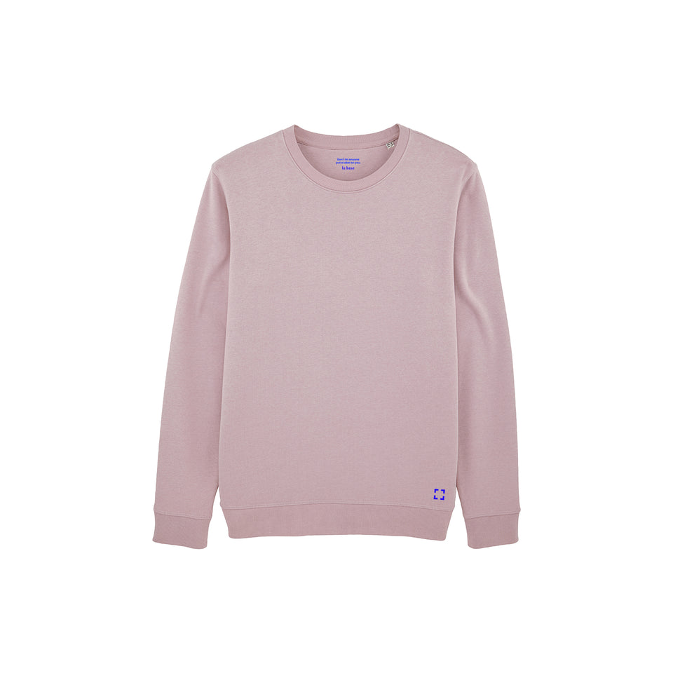 Mac - la base packshot of a lilac usinex sweat in organic coton for women and men