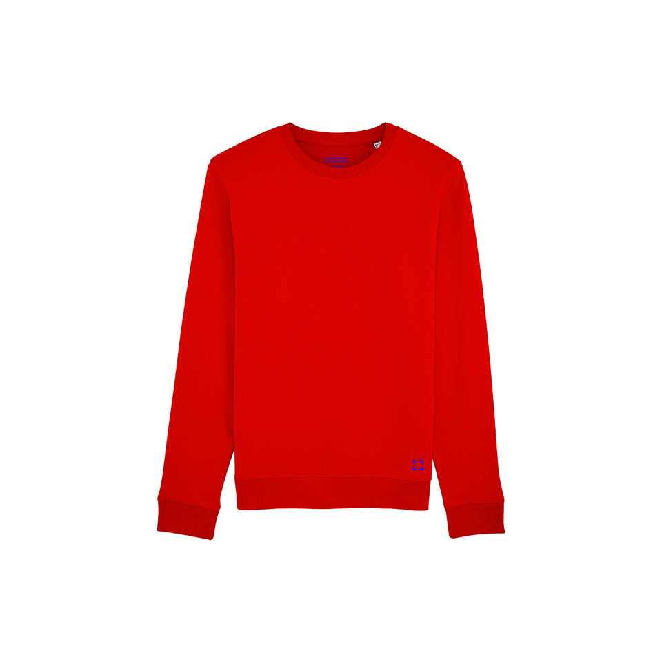 Mac - la base packshot of a pure-red usinex sweat in organic coton for women and men