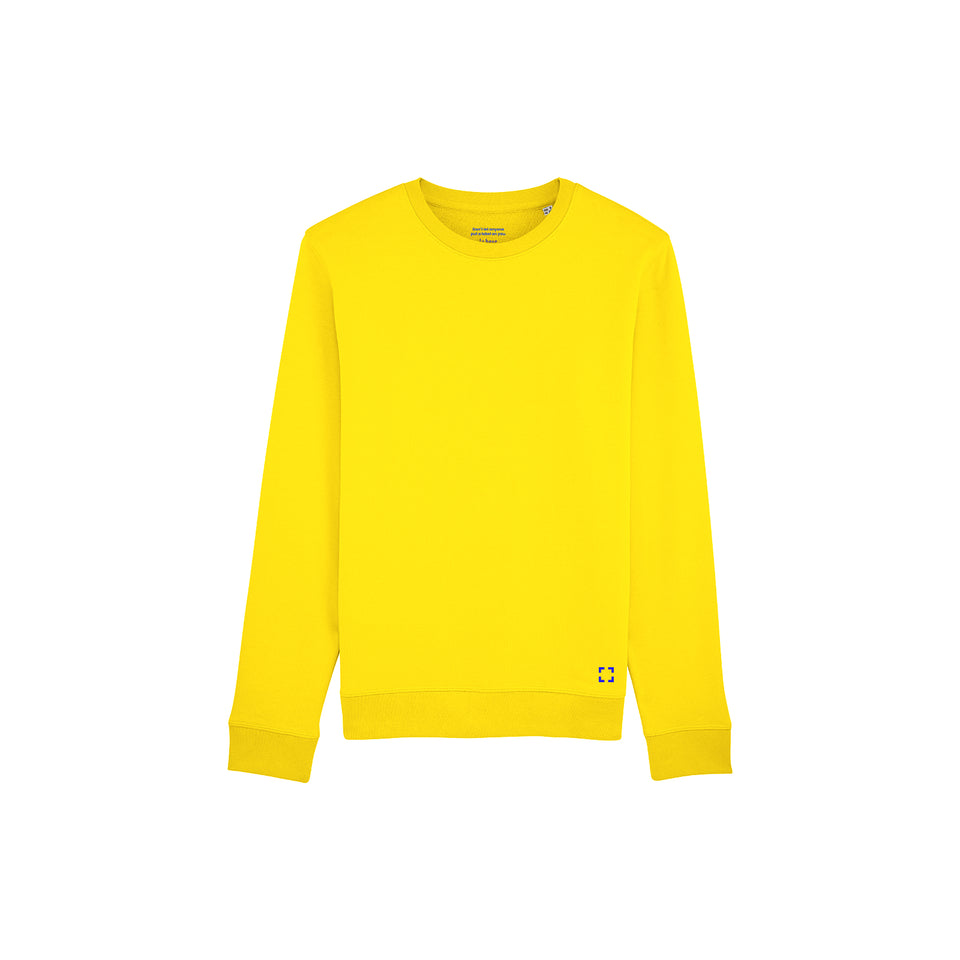 Mac - la base packshot of a pure-yellow usinex sweat in organic coton for women and men
