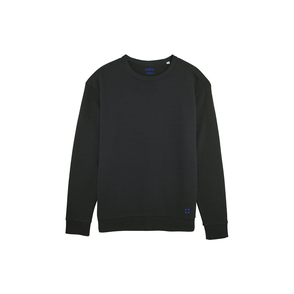 Marty - la base packshot of a black usinex sweat in organic coton for women and men