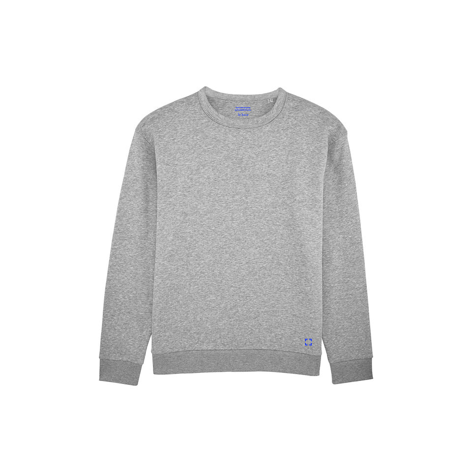 Marty - la base packshot of a heather-grey usinex sweat in organic coton for women and men