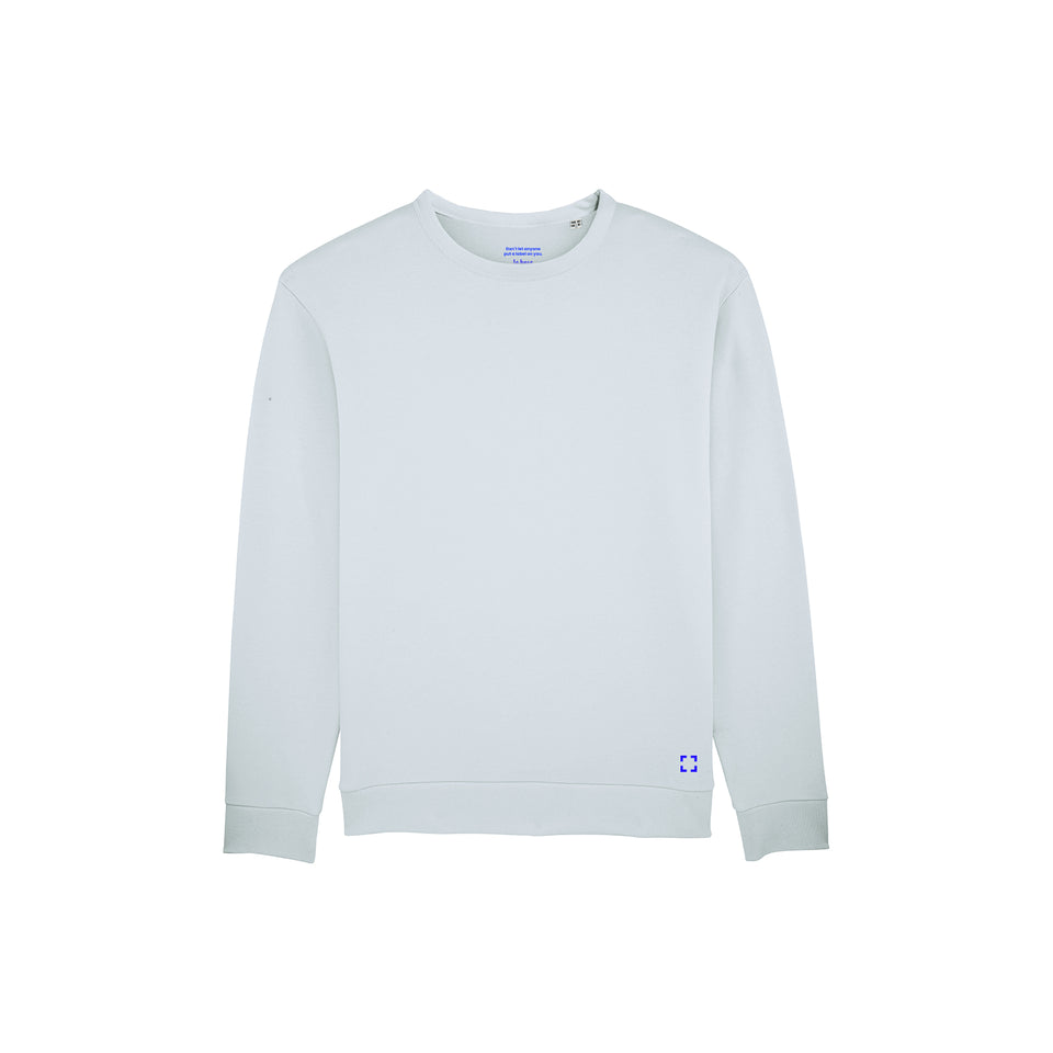 Marty - la base packshot of a ice-blue usinex sweat in organic coton for women and men