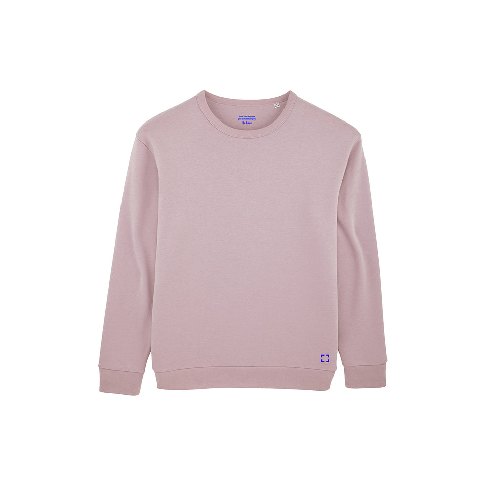Marty - la base packshot of a lilac usinex sweat in organic coton for women and men