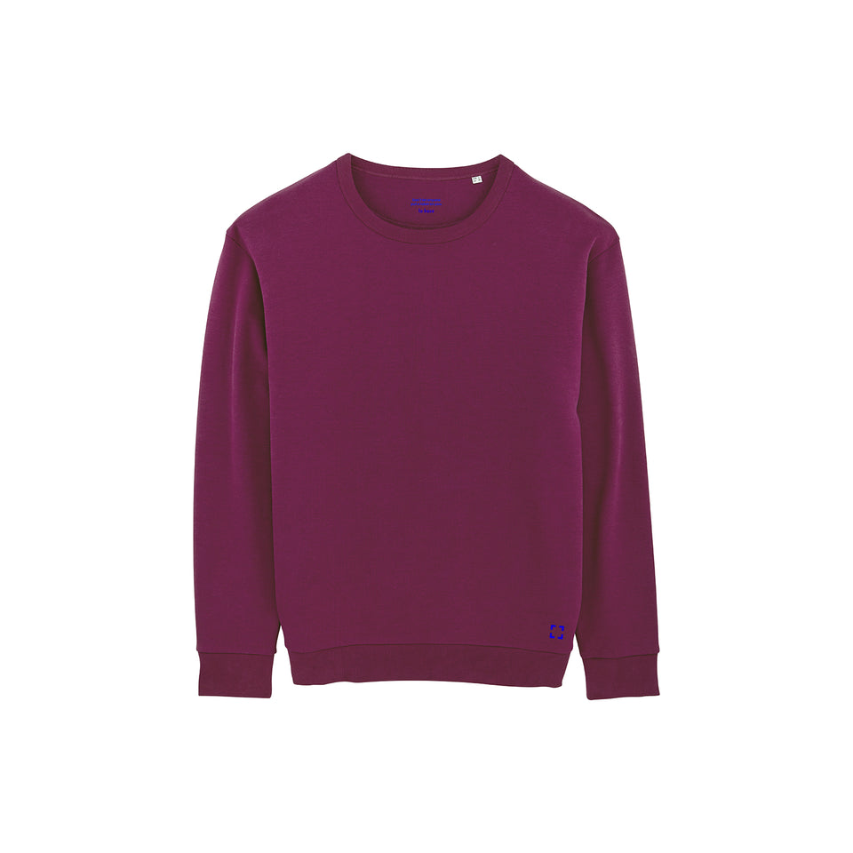 Marty - la base packshot of a magenta usinex sweat in organic coton for women and men