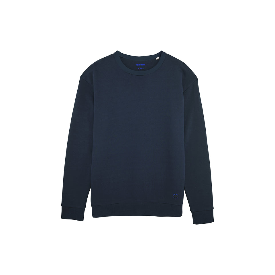 Marty - la base packshot of a navy usinex sweat in organic coton for women and men