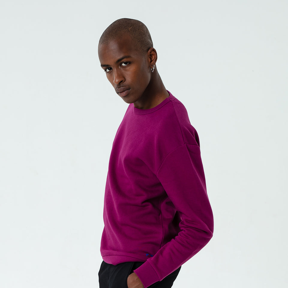 Marty - la base magenta usinex softest sweat in organic coton for women and men worn by Eklou