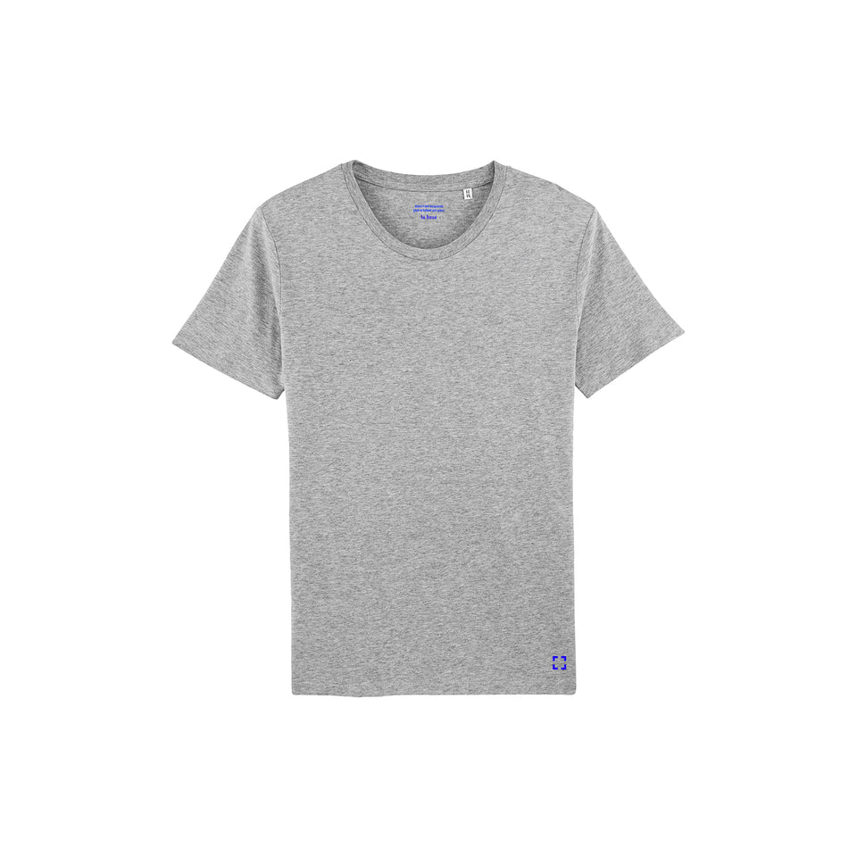 Morgan - la base packshot of a heather-grey usinex t-shirt in organic coton for women and men
