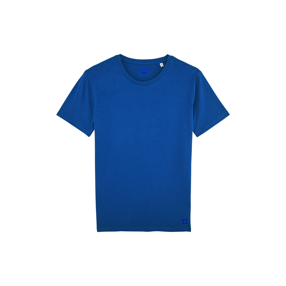 Morgan - la base packshot of a heather-royal-blue usinex t-shirt in organic coton for women and men