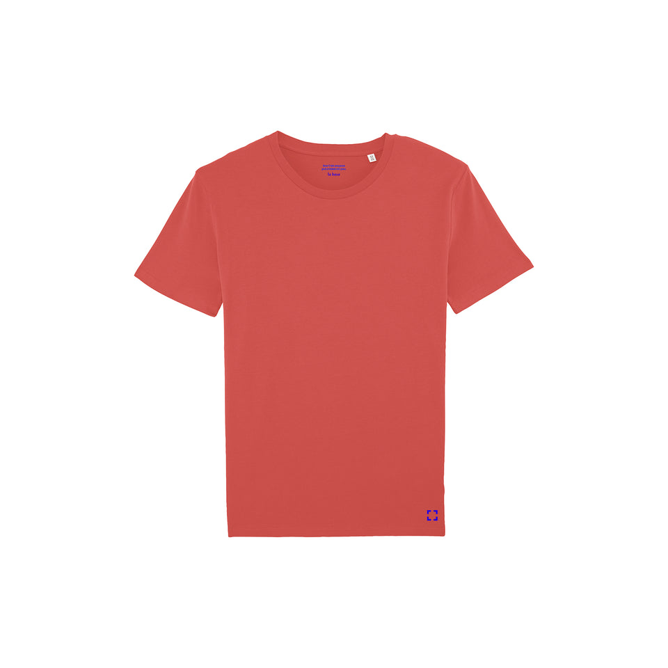 Morgan - la base packshot of a neon-coral usinex t-shirt in organic coton for women and men