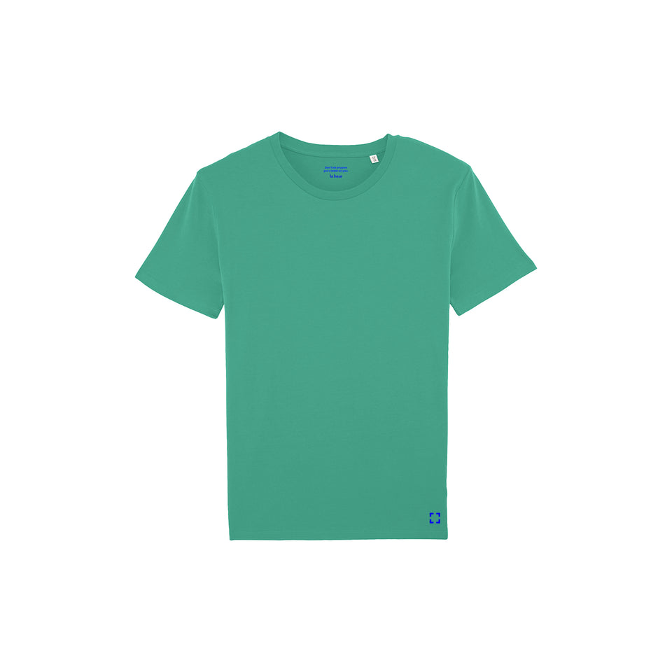 Morgan - la base packshot of a neon-green usinex t-shirt in organic coton for women and men