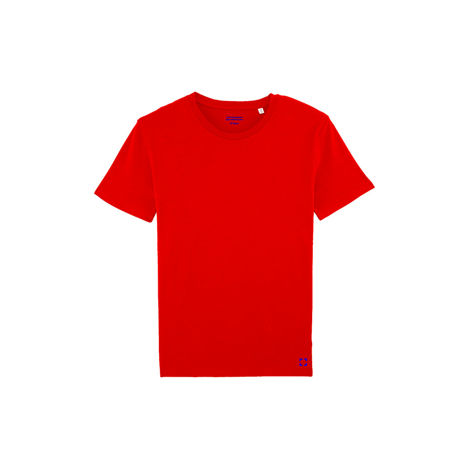 Morgan - la base packshot of a pure-red usinex t-shirt in organic coton for women and men
