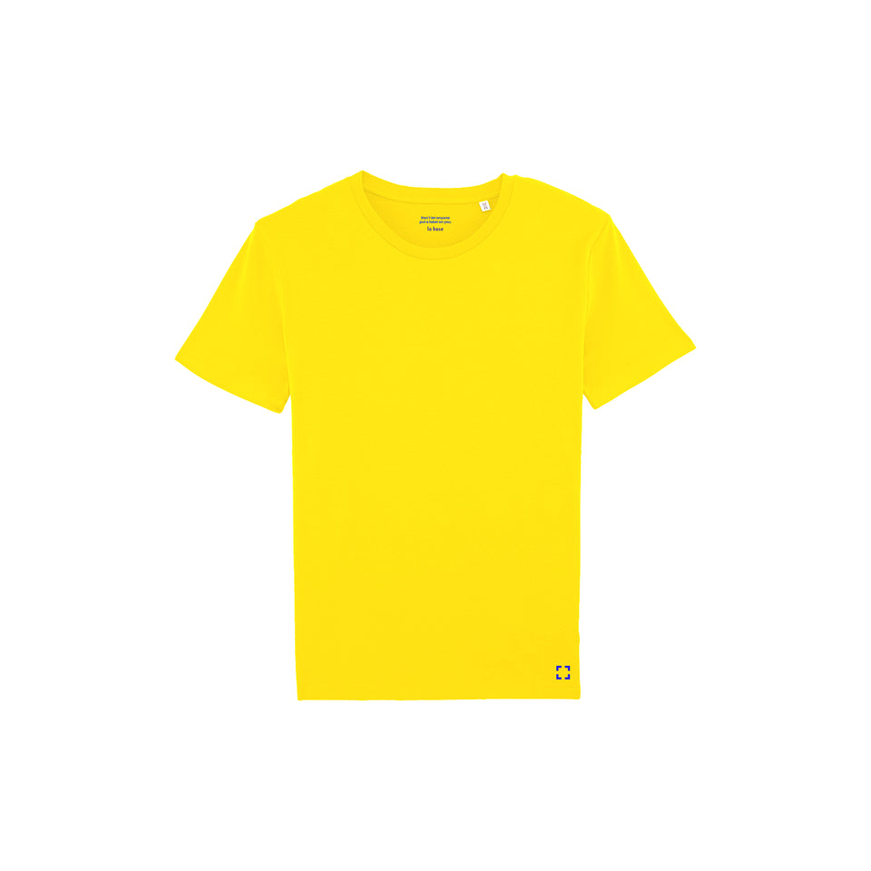 Morgan - la base packshot of a pure-yellow usinex t-shirt in organic coton for women and men