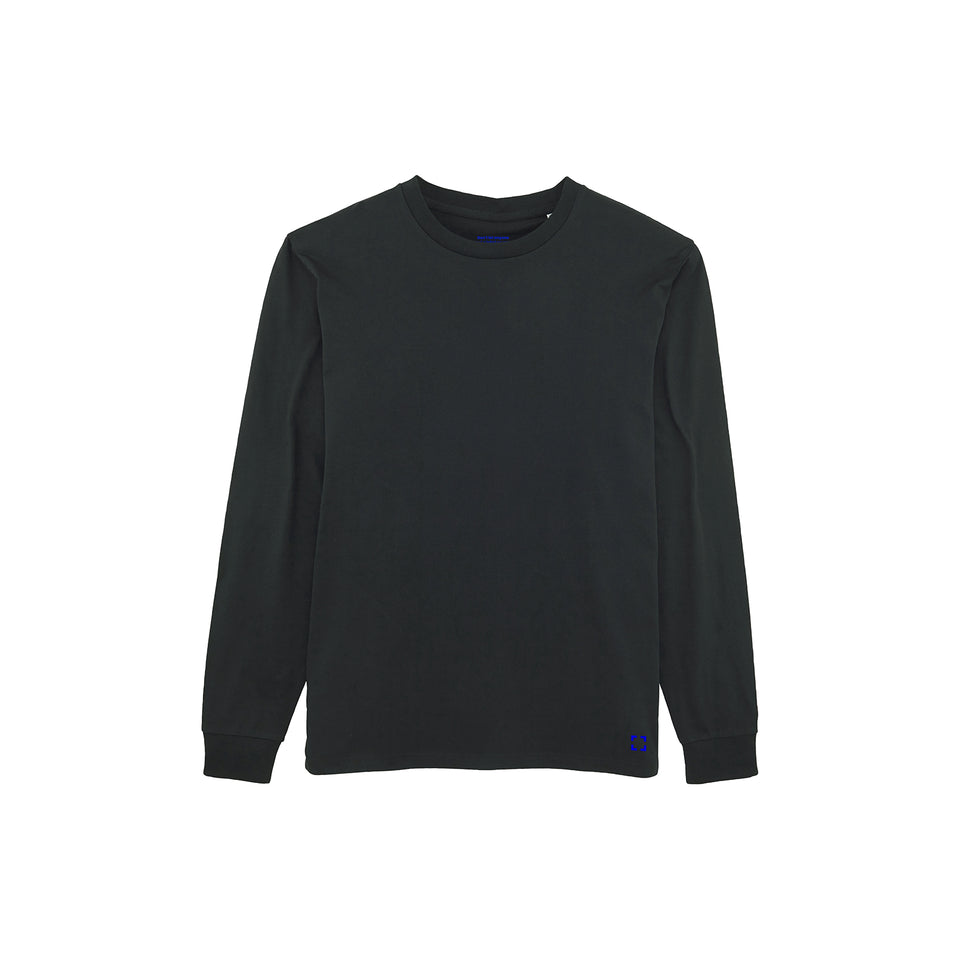 Tony - la base packshot of a black long-sleeve t-shirt in organic coton for men