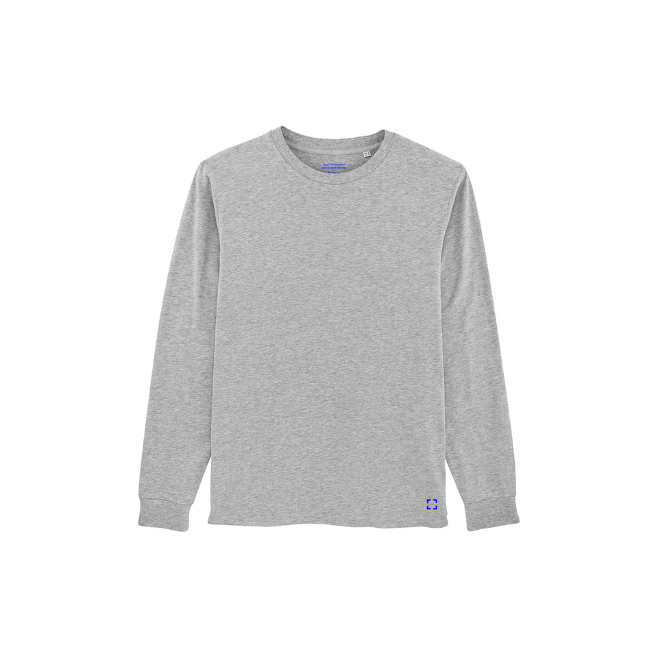 Tony - la base packshot of a heather-grey long-sleeve t-shirt in organic coton for men