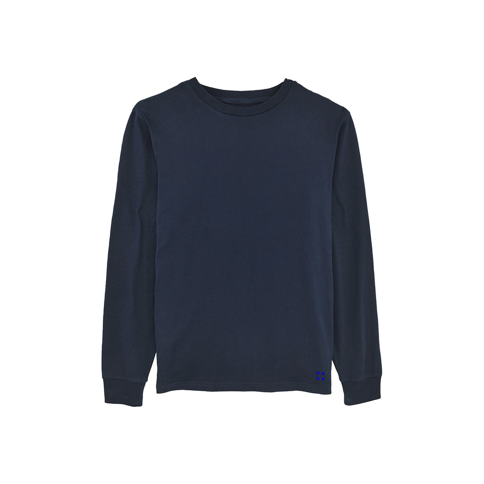 Tony - la base packshot of a navy long-sleeve t-shirt in organic coton for men