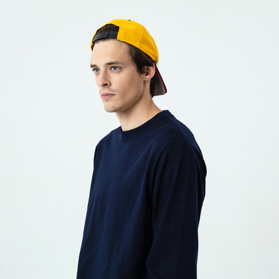 Tony - la base navy long sleeve t-shirt in organic coton for men worn by Sebastien François