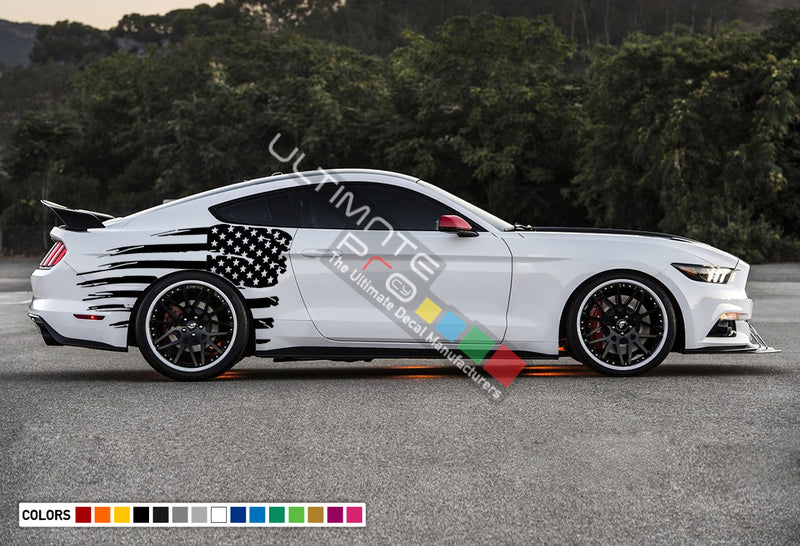 Decal Back Side Wavy Destorder American Flag Stripe Kit Ford Mustang