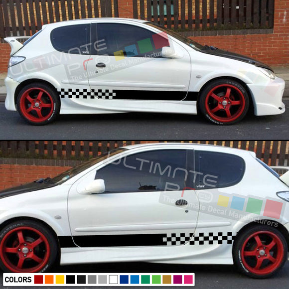 Decal Sticker Side Racing Stripes Compatible with Peugeot 206 GTi RC 1998–Present