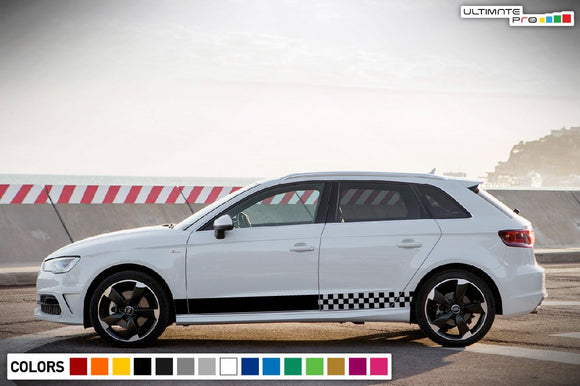 Decal Sticker Side Sport Stripe Kit Compatible with Audi A3 2008-Present