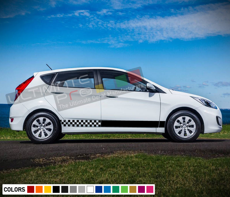 Decal Sticker Side Racing Stripe Compatible with Hyundai Accent 2009-Present
